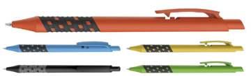 דמקה צבעוני, עט כדורי פלסטי עם גריפ ייחודי ובולט פתיחת לחצן