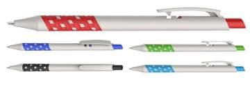 דמקה לבן, עט כדורי פלסטי עם גריפ ייחודי ובולט פתיחת לחצן