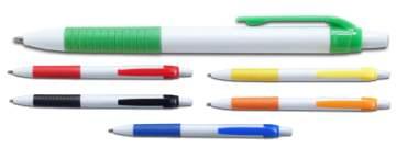 סימפל, עט פלסטי כדורי לבן עם גריפ גומי